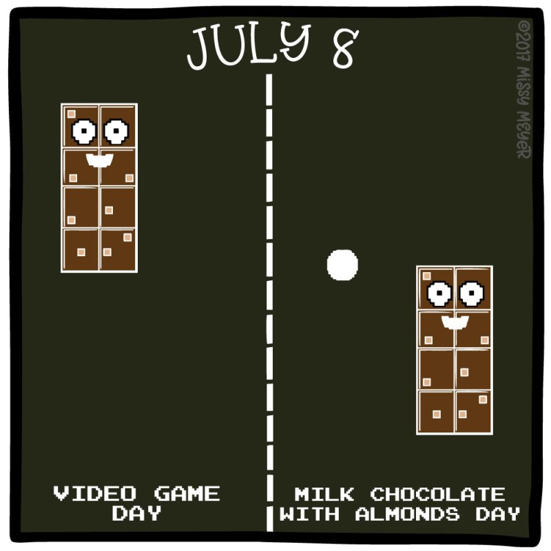 July 8 (every year): Video Game Day; Milk Chocolate with Almonds Day