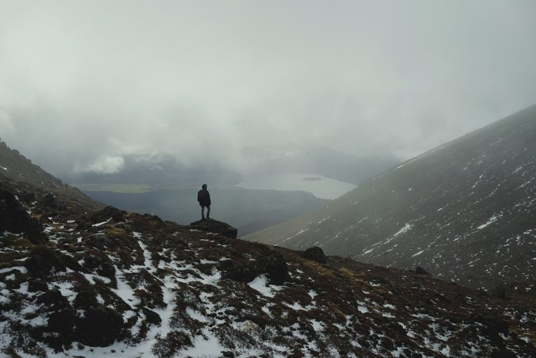 Tongariro crossing winter hiking cabin