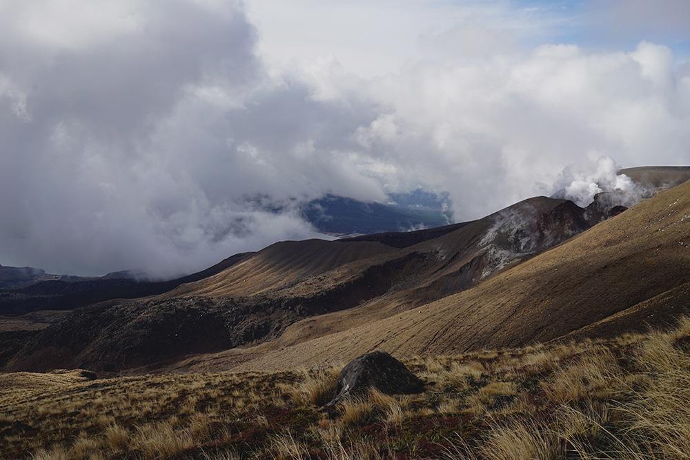 Tongariro crossing winter hiking cabin Mordor