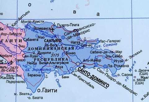 Отдых на Карибских островах, Карта Доминиканы
