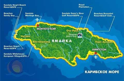 Отдых на Карибских островах, карта Ямайки