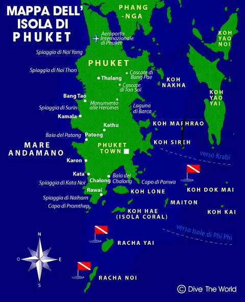 Отдых на островах Тайланда - карта Пхукета