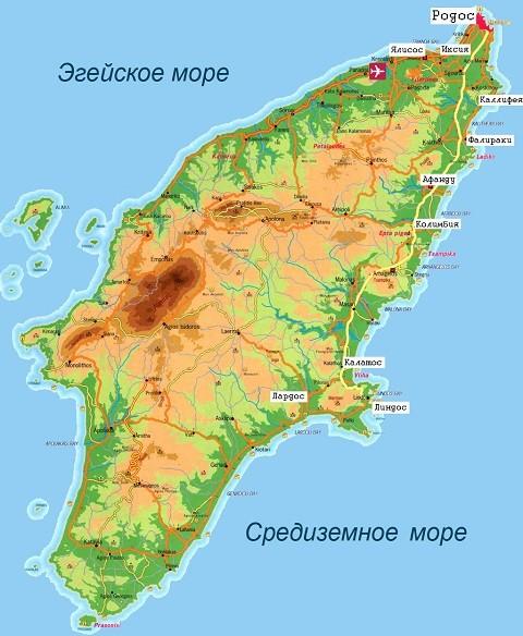 Отдых на островах Греции, Карта Родоса