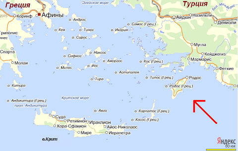 Отдых на острове Родос, географическое месторасположение острова
