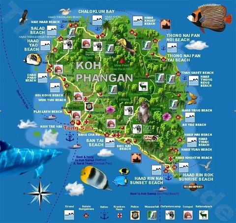 Отдых на островах Тайланда, карта острова Панган
