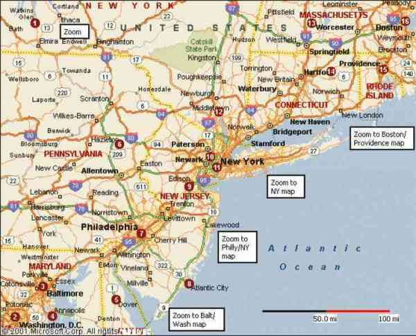 Map Of East Coast Us Holiday Map Q HolidayMapQcom