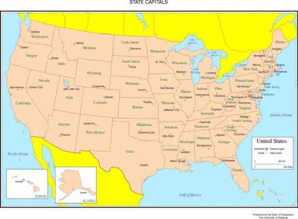Map Of Usa With State Capitals HolidayMapQcom