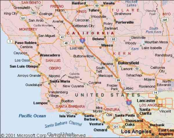 Map Of West Coast California Holiday Map Q HolidayMapQ