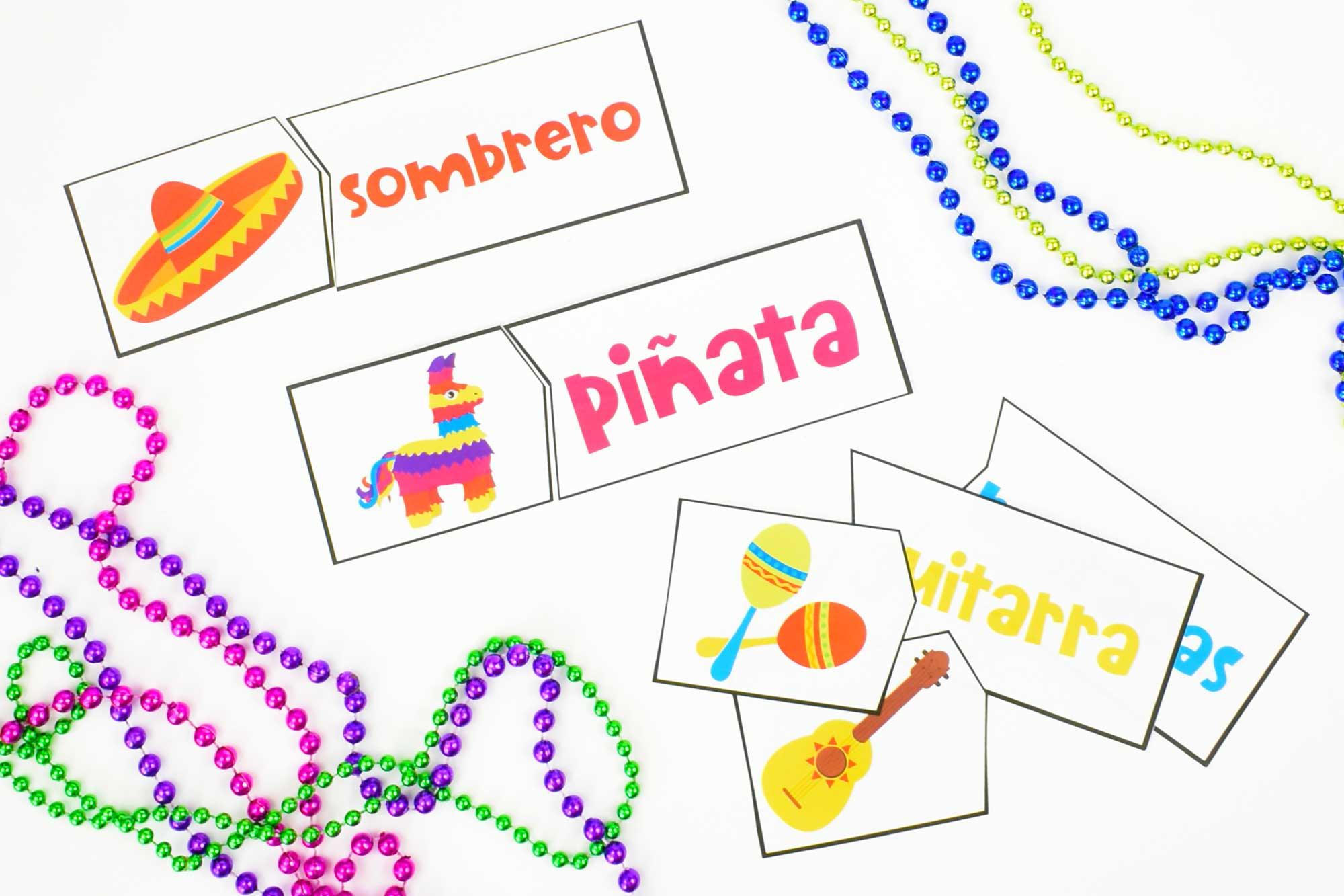 Cinco De Mayo Spanish Vocabulary Matching Cards