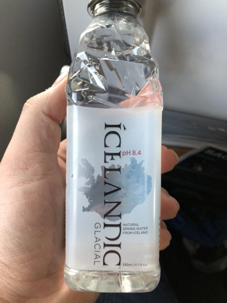 Bottle of Icelandic Glacial water given when boarding Icelandair flight.