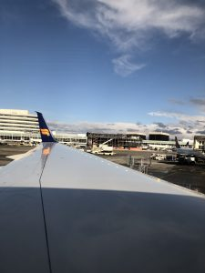 Icelandair wing before take off at Seatac Airport in Seattle