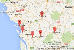 map of airports in poitou charente google