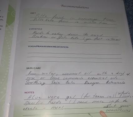 Ayurveda recommendations