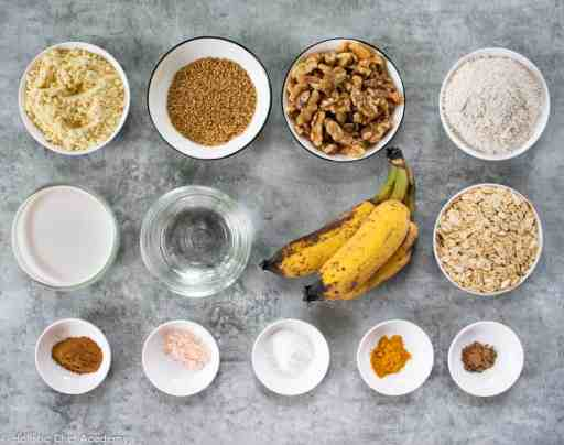 Banana bread ingredients laid out ready for baking