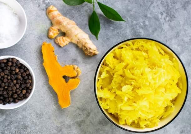 turmeric sauerkraut and ingredients