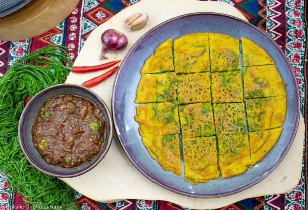 thai vegan omelet with cha om served with eggplant dip