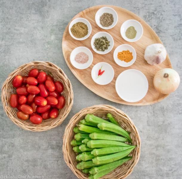 fresh ingredients for bhindi masala
