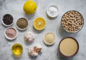 ingredients laid out for making hummus