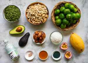 ingredients laid out for making key lime cheesecake