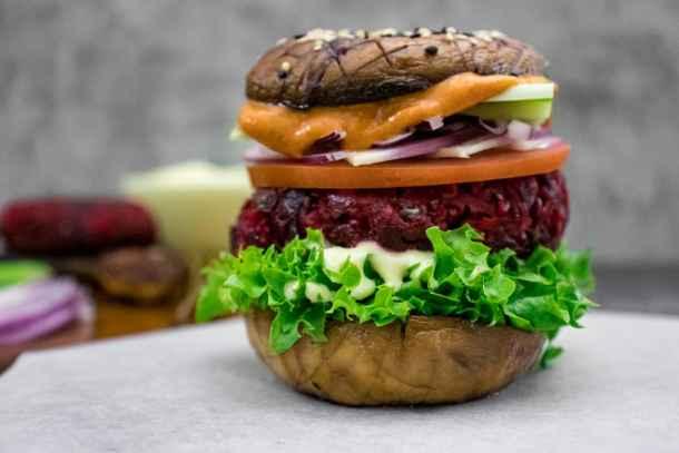beetroot-burger-with-Portobello-mushroom-bun