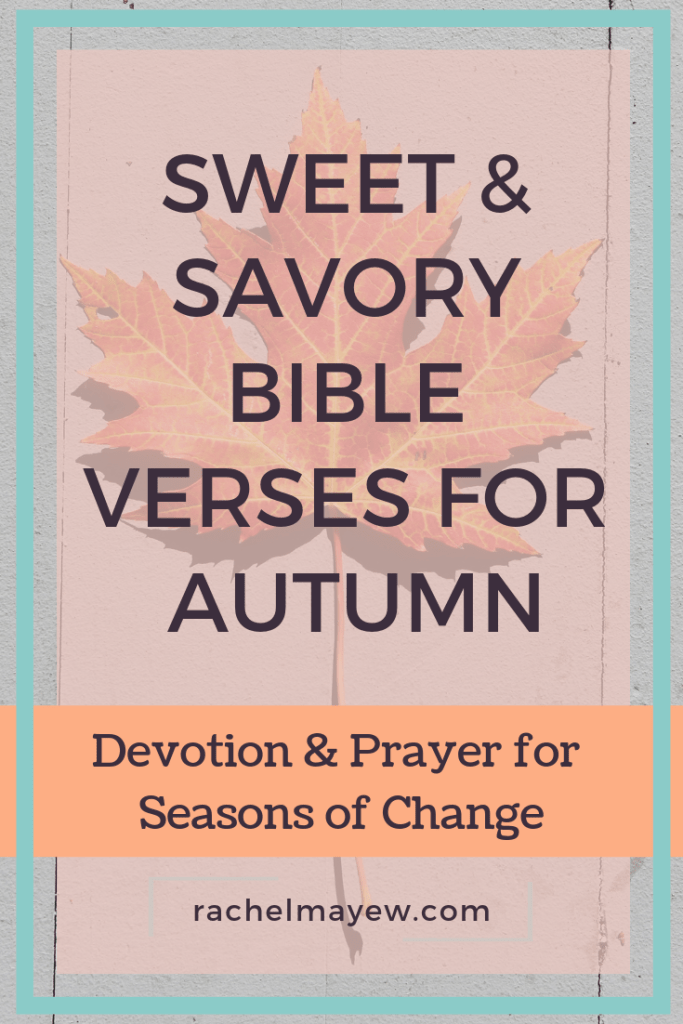 Sweet & Savory Bible Verses for Autumn ~ Rachel Mayew Devotion & Prayer for Seasons of Change. #rachelmayew #psalmforautumn #bibleversesforautumn #comfycozy #fallfeelings #ecclesiastes31 #autumn #devotions