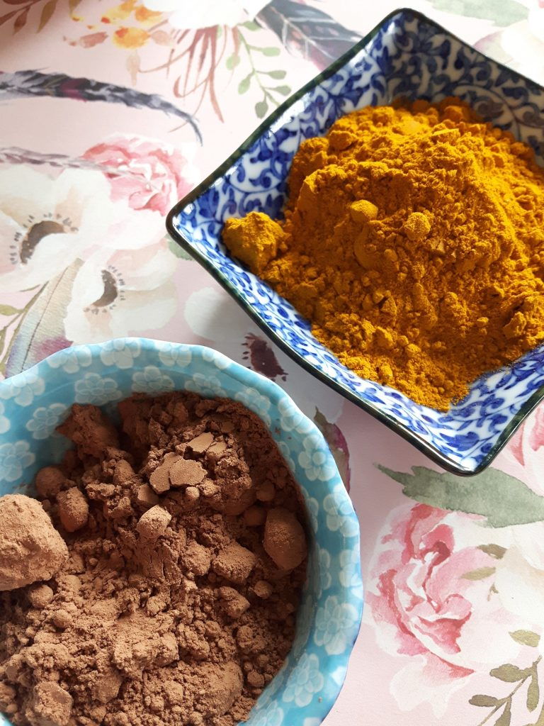 cacao and turmeric powders