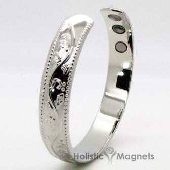 Womens Copper Magnetic Bracelet for Arthritis-Silver Flower Chain