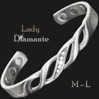 Ladies Magnetic Pain Relief Bracelet Copper Bracelet for Arthritis Silver Toned with Zirconia Stones – Lady Diamante