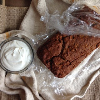 Pumpkin Bread with honey yogurt spread