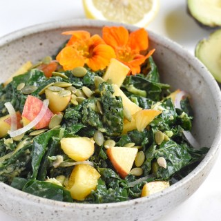 Seasonal Kale Salad with Peaches and Blueberry