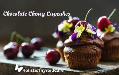 Chocolate Cherry Cupcakes with Flowers