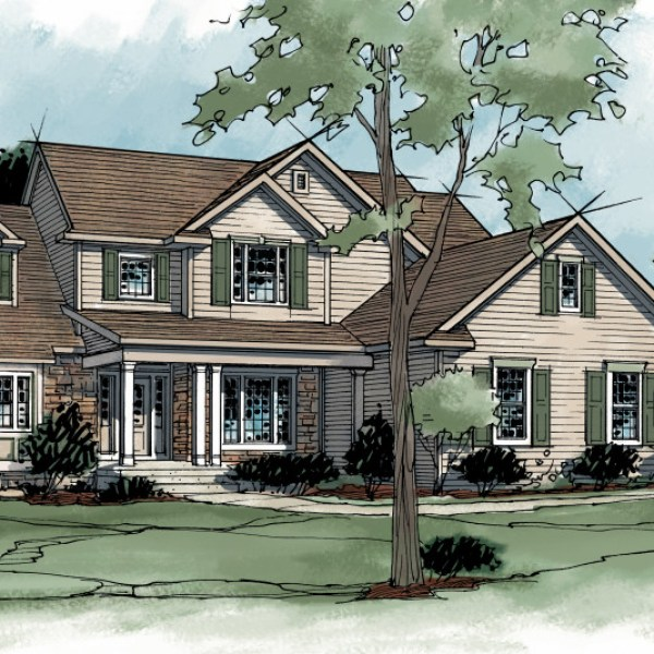 Color Rendering of House in Parade of Homes Book