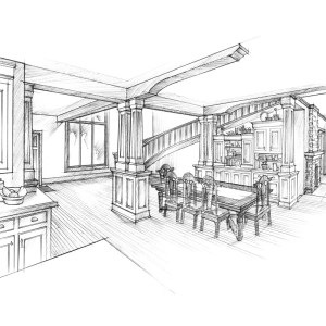 Pencil Sketch of Proposed Lake House Interior