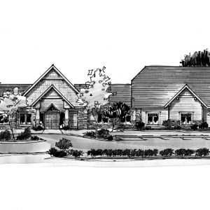 Marker Sketch of Proposed Assisted Living Facility Elevation