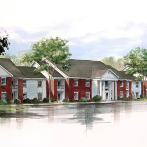 Architectural Color Rendering of College Campus Apartments