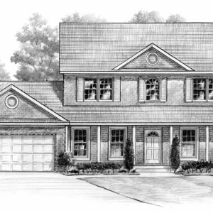 Pencil Shaded Illustration of Model Home