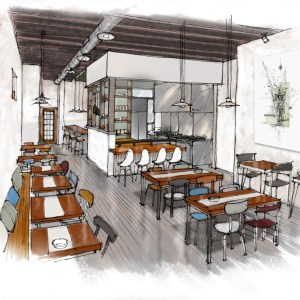 Artist Concept Sketch of Restaurant Interior
