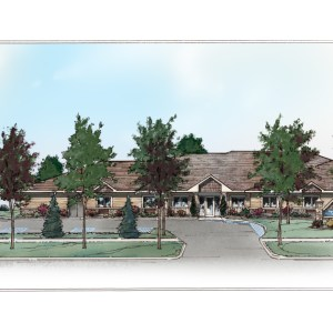 Front Elevation Rendering for Assisted Living Facility City Government Presentation