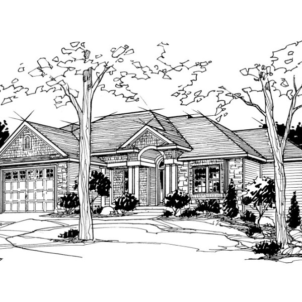 Perspective Pen and Ink Illustration of Residence