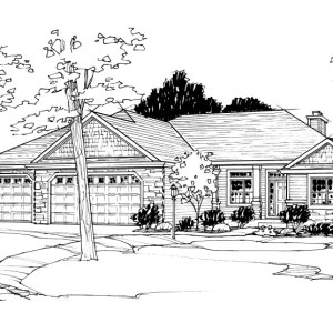 Pen and Ink Illustration of Parade of Homes Residence