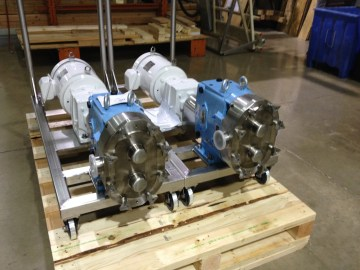Waukesha U1 Pumps Mounted on Square Tube Frames with Casters