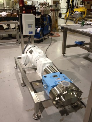 Waukesha Universal 2 Pump Side Mounted on a Stainless Steel Frame, with Motor, Gear Reducer and a Variable Frequency Drive