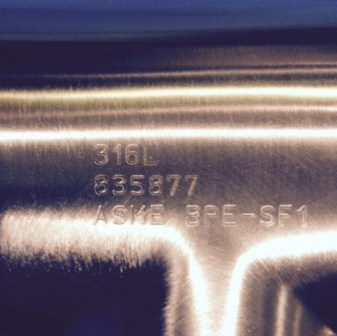 Typical Markings on an ASME BPE Sanitary Fitting.  The 835877 Number is the Heat Number