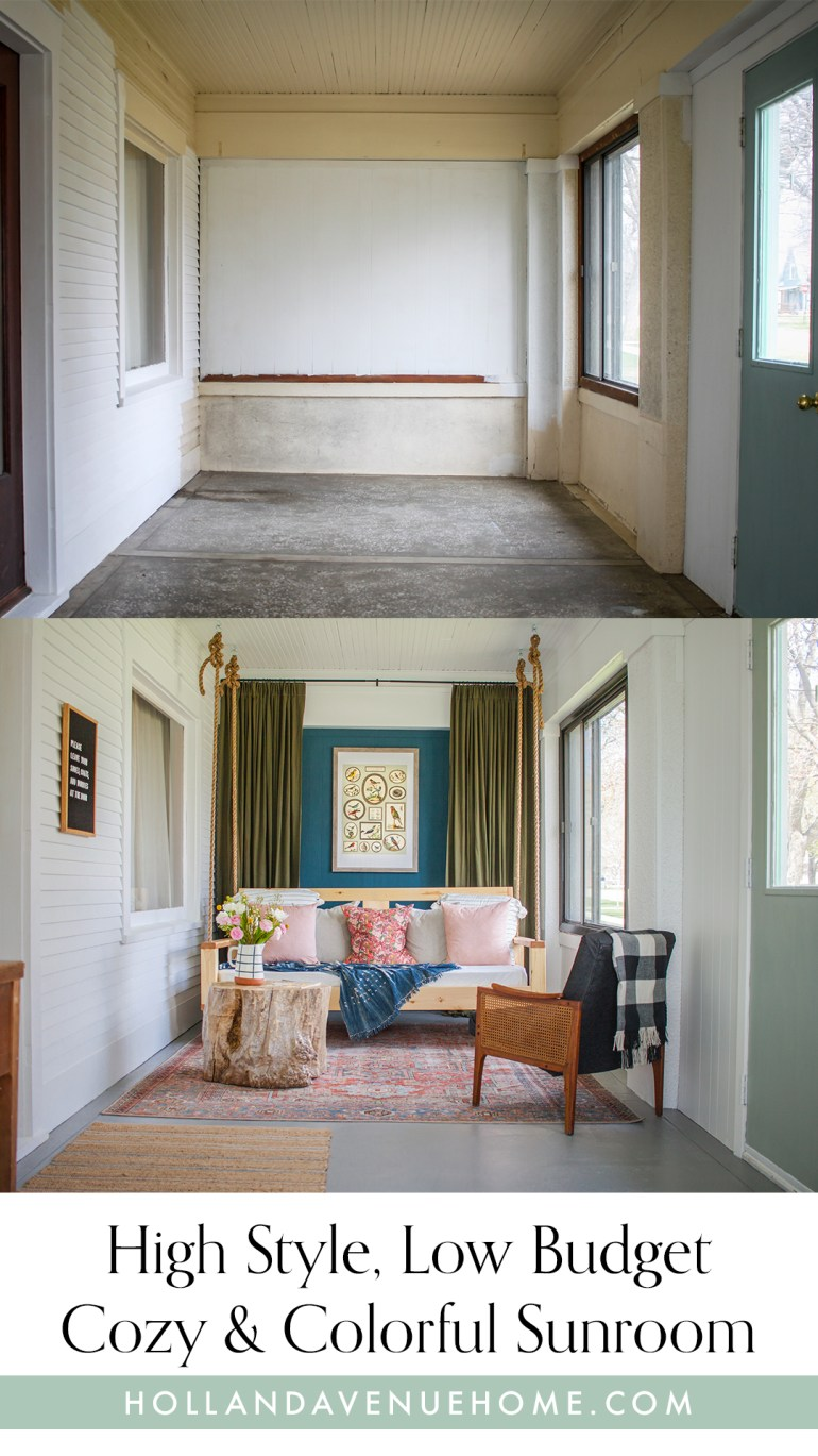 High style low budget cozy and colorful sunroom