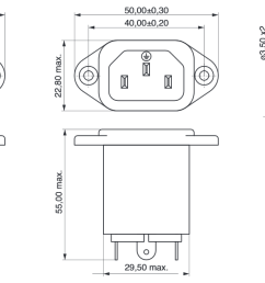 power line filter iec connector technical drawing [ 1373 x 631 Pixel ]