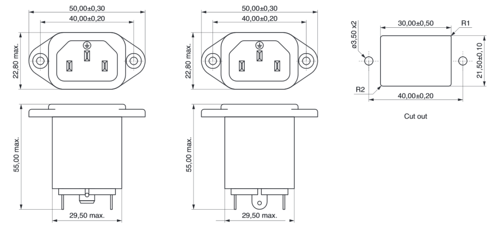 medium resolution of power line filter iec connector technical drawing