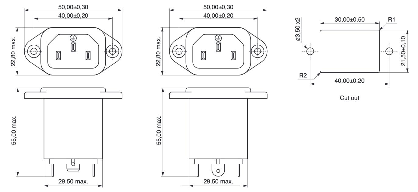 hight resolution of power line filter iec connector technical drawing