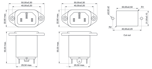 small resolution of power line filter iec connector technical drawing