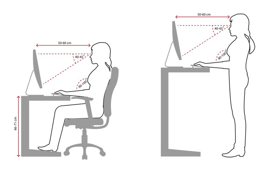 looking at a monitor while sitting or standing
