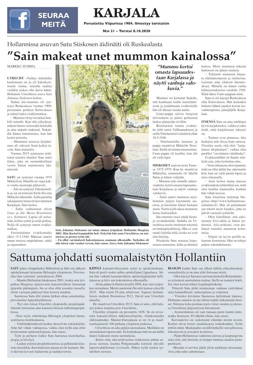 Satu Siiskonen Karjala-lehdessä